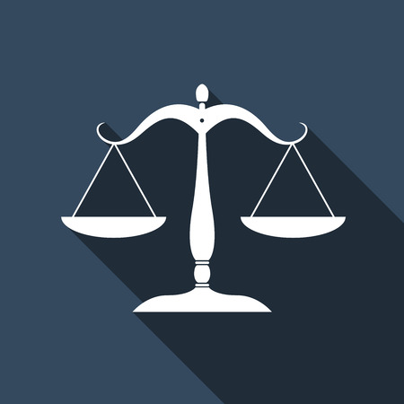 fair trial: Justice scales silhouette icon with long shadow. Vector illustration Illustration