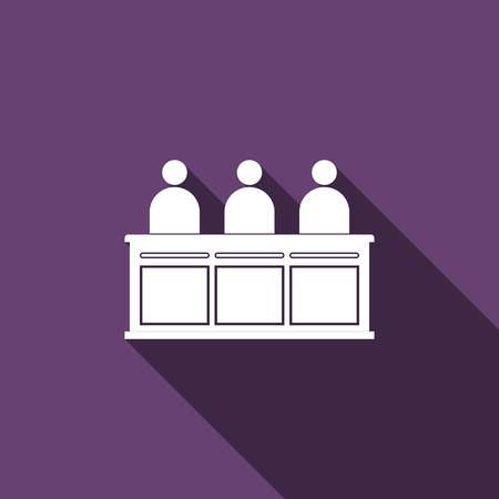 jurors: Jurors icon with long shadow. Vector illustration