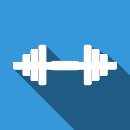 Dumbbell icon with long shadow. Vector Illustration. Illustration