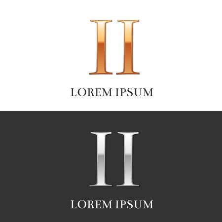 2, II, Luxe goud en zilver Romeinse cijfers, teken, symbool, pictogram, grafisch. Vector Illustratie.