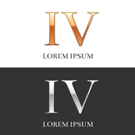 4, IV, Luxe goud en zilver Romeinse cijfers, teken, symbool, pictogram, grafisch. Vector Illustratie.