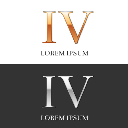 4, IV, Luxury Gold and Silver Roman numerals, sign, symbol, icon, graphic. Vector Illustration. Illustration