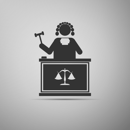 Judge With Gavel icon. Vector illustration