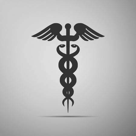 emblem for drugstore or medicine: Caduceus medical symbol with long shadow (emblem for drugstore or medicine, medical sign, symbol of pharmacy, pharmacy snake symbol). Vector illustration.