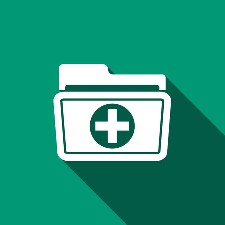 medical record: Medical health record folder icon for healthcare with long shadow. Vector Illustration.