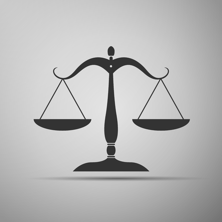 fair trial: Justice scales silhouette icon. Vector illustration Illustration
