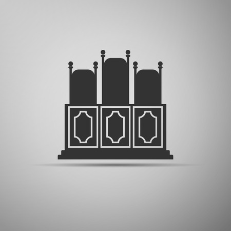 courts: Courts room with table, chairs icon. Vector illustration Illustration