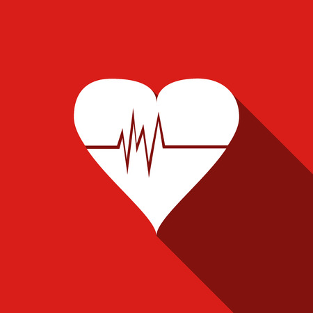 taking pulse: Heart Rate icon with long shadow. Vector Illustration.