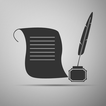 paper scroll: Quill Pen with inkwell and paper scroll icon. Vector illustration