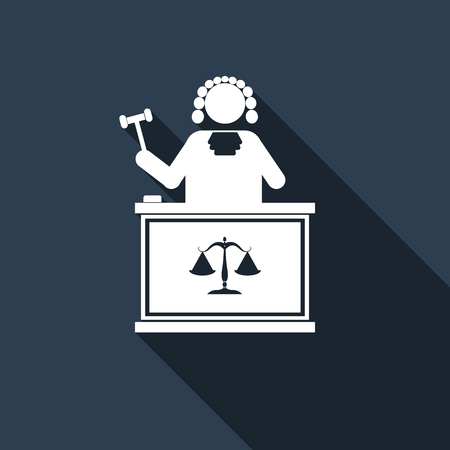 sentence: Judge With Gavel icon with long shadow. Vector illustration