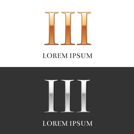 3, III, Luxe goud en zilver Romeinse cijfers, teken, symbool, pictogram, grafisch. Vector Illustratie.