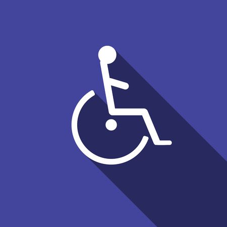 handicap: Disabled Handicap Icon with long shadow. Vector illustration. Illustration