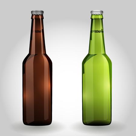 Dos botellas de cerveza cristal verde y marrón sobre fondo blanco aislado. Ilustración del vector.