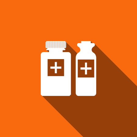 picto: Medical bottles icon with long shadow. Vector illustration