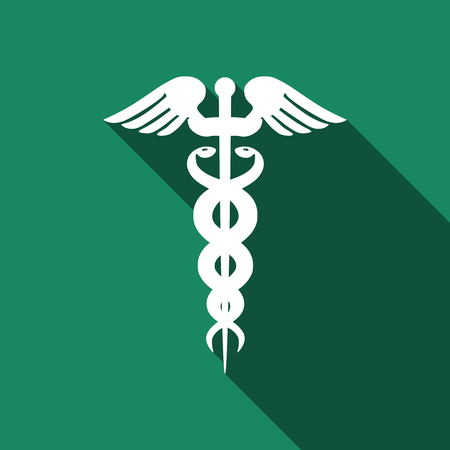 caduceus medical symbol: Caduceus medical symbol with long shadow (emblem for drugstore or medicine, medical sign, symbol of pharmacy, pharmacy snake symbol). Vector illustration.