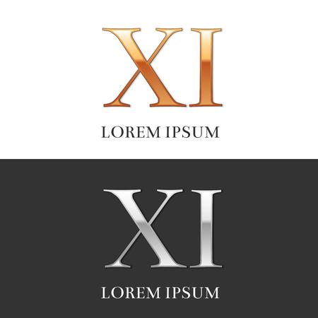 11, XI, Luxe goud en zilver Romeinse cijfers, teken, symbool, pictogram, grafisch. Vector Illustratie.