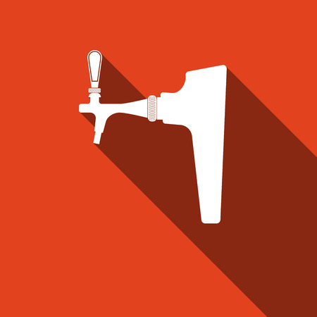 lager beer: Beer tap icon with long shadow. Vector Illustration