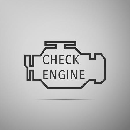 Berprüfen Sie Motor Symbol Mit Langen Schatten. Vektor-Illustration ...