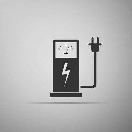 recharging: Electric energy supply for cars icon. Vector illustration