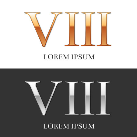 numeros romanos: 8, VIII, de lujo del oro y de la plata n�meros romanos, muestra, s�mbolo, icono, gr�fico. Ilustraci�n del vector.