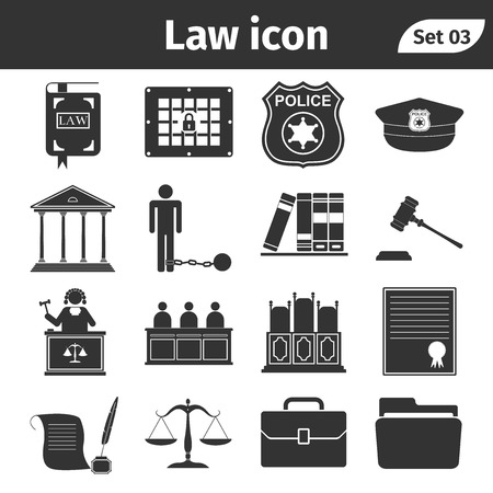 juridical: Simple set of Law and Justice related vector icons set. Vector Illustration.