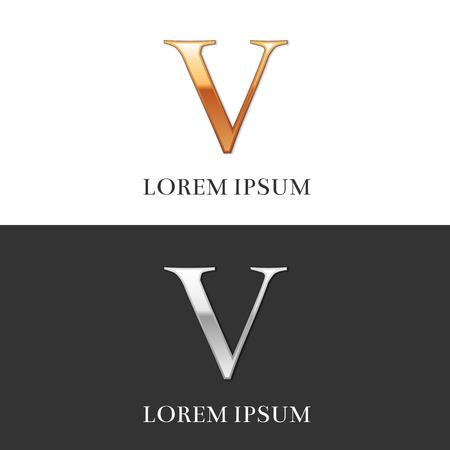 5, V, Luxe goud en zilver Romeinse cijfers, teken, symbool, pictogram, grafisch. Vector Illustratie.