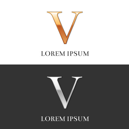 roman numerals: 5, V, Luxury Gold and Silver Roman numerals, sign, symbol, icon, graphic. Vector Illustration. Illustration