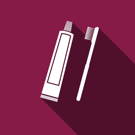 odors: Toothbrush and toothpaste icon with long shadow. Vector Illustration. Illustration