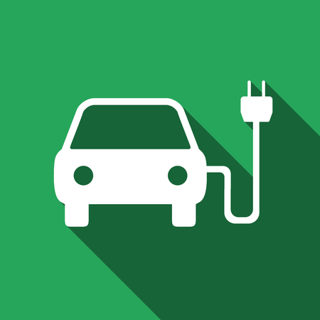 powered: Vector illustration of electric powered car symbol icon with long shadow. Illustration
