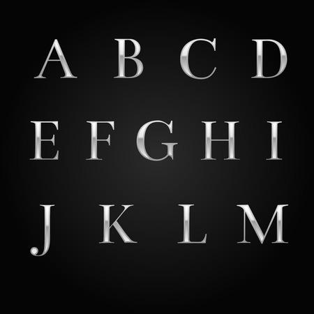 black and silver: glossy silver font design set over black. Vector Illustration. Illustration