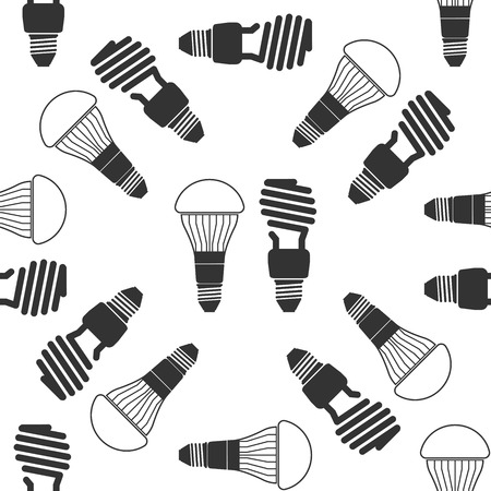 led light: LED bulbs and fluorescent light bulb icon pattern