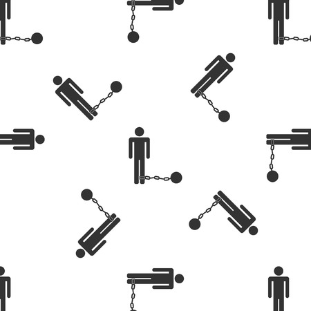 imprisonment: Prisoner with ball on chain Icon pattern Illustration