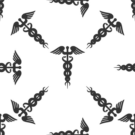 caduceus medical symbol: Caduceus medical symbol with long shadow (emblem for drugstore or medicine, medical sign, symbol of pharmacy, pharmacy snake symbol) Icon pattern