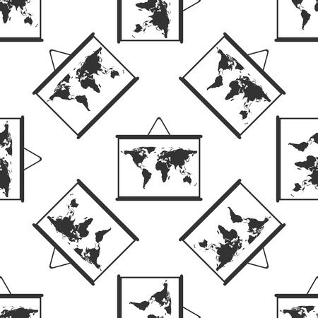 visions of america: World maps drawing on chalkboard icon pattern Illustration