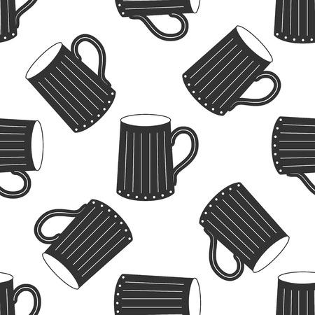 fresh brewed: Wooden beer mug Icon pattern Illustration