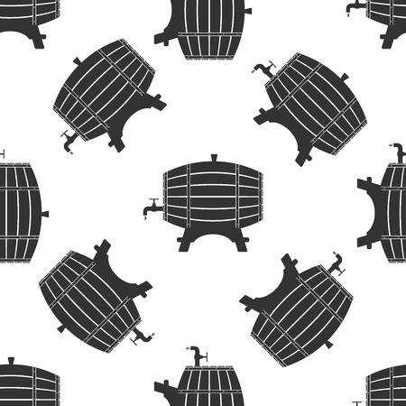 wooden barrel: Wooden Barrel Icon pattern Illustration