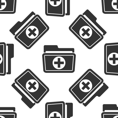 Medical health record folder icon for healthcare pattern Illustration