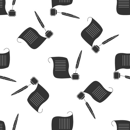inkwell: Quill Pen with inkwell and paper scroll Icon pattern