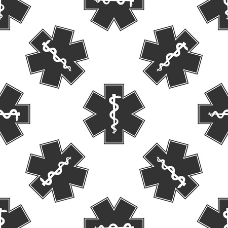 emergency medical: Medical symbol of the Emergency - Star of Life icon pattern