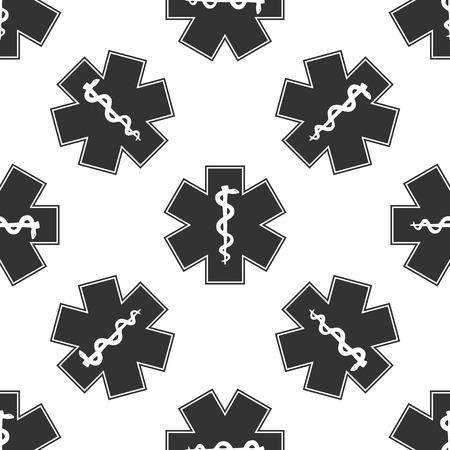 esculapio: s�mbolo m�dico de la emergencia - Estrella de patr�n icono de la Vida