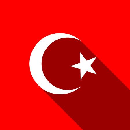 cresent: Islam symbol icon with long shadow Illustration