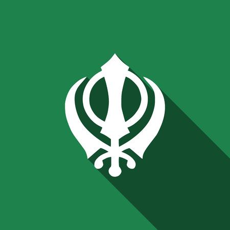 sikh: Khanda Sikh icon with long shadow Illustration