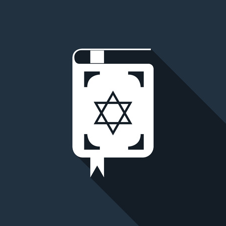 talit: Jewish torah book icon with long shadow