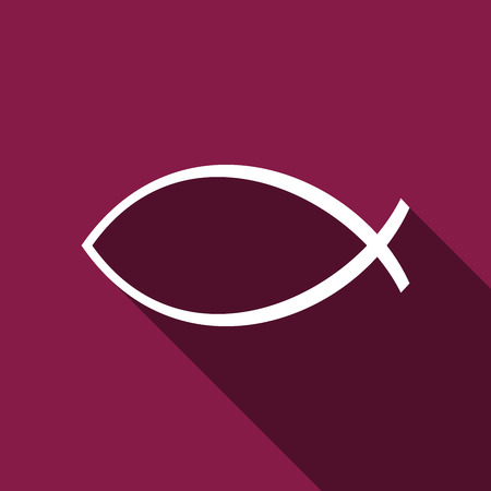 ichthys: Christian fish icon with long shadow. Illustration