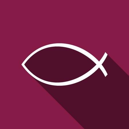 ictus: Christian fish icon with long shadow. Illustration