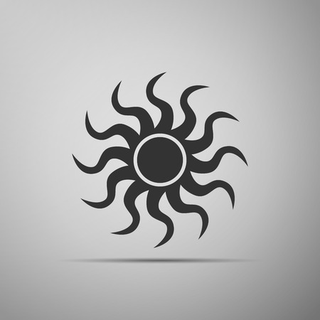 Sun-sign icon on grey background