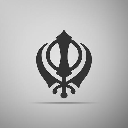 fellowship: Khanda Sikh icon on grey background