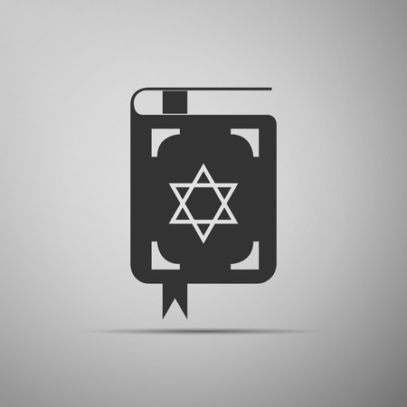 kippah: Jewish torah book icon on grey background. Adobe illustrator Illustration