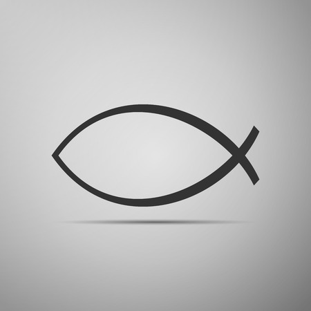 ichthys: Christian fish icon on grey background.