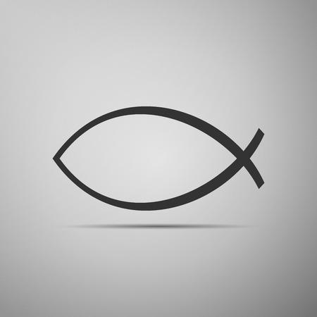 pez cristiano: Cristiano Icono de peces en el fondo gris.